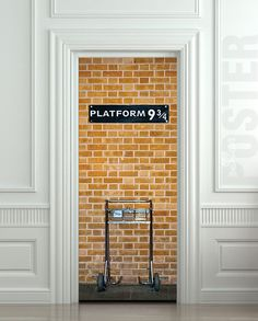 "Door STICKER platform harry potter hogwarts express railway mural decole film self-adhesive poster 30x79""(77x200 cm) /"