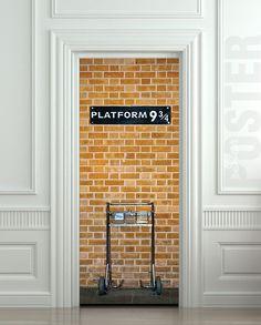 "Door STICKER platform harry potter hogwarts express railway mural decole film self-adhesive poster 30x79""(77x200 cm) /"