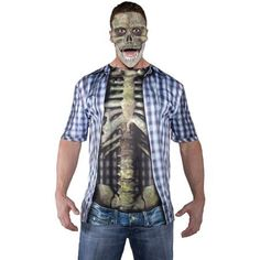 Blue Photo-Real Skeleton Shirt Adult Halloween Costume - Walmart.com