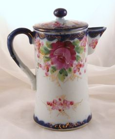 USA Vintage Hand Painted Nippon Cobalt Chocolate Pot Circa before 1890 - http://www.rubylane.com/item/152867-1016H-C-03/USA-Vintage-Hand-Painted-Nippon