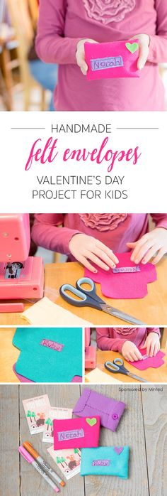 Handmade Valentines Envelopes – Easy Kids' DIY Project – Zina — Let's Lasso the Moon Handmade Valentines Envelopes – Easy Kids' DIY Project Handmade Felt Envelopes: Easy Valentine's Day Activity for Kids *This simple sewing project is so cute. Sewing Projects For Kids, Sewing For Kids, Diy For Kids, Gifts For Kids, Diy Projects, Sewing Ideas, Valentine Crafts For Kids, Valentines Day Activities, Kids Crafts