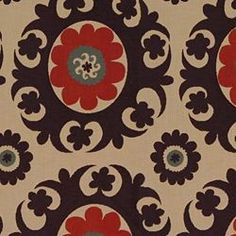 I could definitely see this fabric (Katrina Lacquer) on an ottoman.  $84.99 @calicoCorners.com