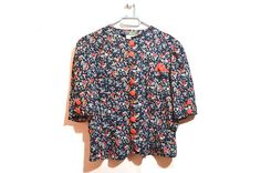 Vintage 70s Floral Blouse Blue Red Button Up 1970s Womens