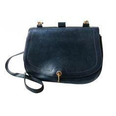 Hermes blue leather shoulder bag with white bone accent - $2100.