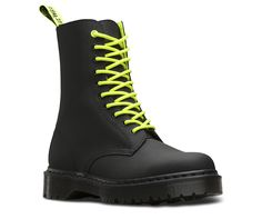 The 1490 10-eye boot is a classic Dr. Martens silhouette laced even higher for an amped-up attitude. The boot's color scheme is inspired by the intense energy of the early 90s rave scene — but made modern in a matte black with pops of neon yellow. This unisex boot is made with all the classic Doc's DNA, including an extra-chunky, extra-iconic AirWair™ air-cushioned sole. Built to last, it's made using one of the finest methods of construction: the Goodyear Welt.
