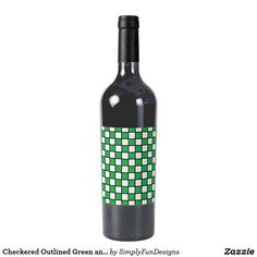Checkered Outlined Green and Black Wine Label