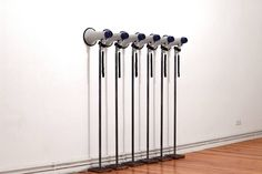 'Muro' (2015) by Paolo Inverni  6 megaphones, 6 speakers, 6 metal pedestals, dvd player, dvd-video, 6 channel sound 159 x 160 x 34 cm  Work part of 'Eclissi' solo exhibition - curated by Francesco Tenaglia and hosted by Galerie Mario Mazzoli, Berlin  Photo by Philine von Düszeln  #eclissi #paoloinverni #galeriemazzoli #galeriemariomazzoli #francescotenaglia #art #contemporaryart #installation www.paoloinverni.it