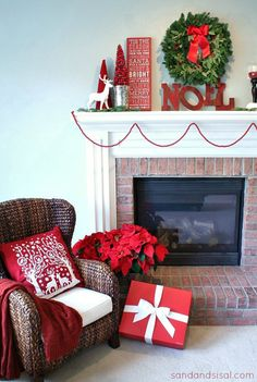 Stunning blue and red living room with pretty fireplace mantel