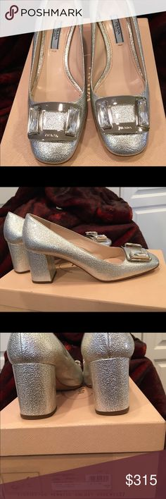 Prada Silver Pumps THESE ARE THE MOST BEAUTIFUL SHOES I've ever owned!!  They look like Jackie O. They're just too big for me. Ive worn them one time (with pads stuffed under my foot). I would never sell these if I could wear them...that's how fiercely I love 'em! Prada Shoes Heels