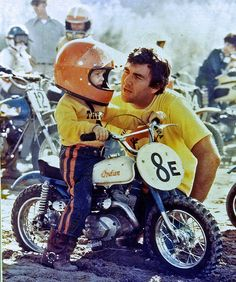 Vintage photo of young dirt bike rider