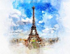 Eiffel Tower Paris France Artwork Gift, Canvas Wall Art of a Watercolor Painting, Travel Tourist Souvenir Keepsake Memento by DesignsbyTenaT on Etsy Pictures Images, Photos, Paris In October, September, Image Paris, France Eiffel Tower, Paris Poster, Paris Images, Paris Ville