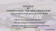 Happy Friday Everyone!   We are ready to start our friday with an amazing Giveaway with Green Rock products!   So, click here http://fashionbyruda.com/index.php/blogs/page?bid=b73ce398c39f506af761d2277d853a92 and follow the rules to enter the giveaway. We are choosing 2 winners this time - first and second. This giveaway is open to Indian residents only.   Show some love and share the news with your friends!! Hope you have lots of fun.  XOXO