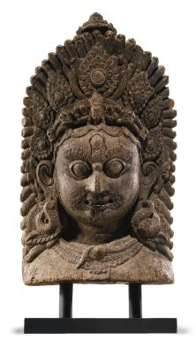 A Wood Mask of Bhairava   Height: 20 in. (50.8 cm)  Nepal, circa 16th century      Sotheby's