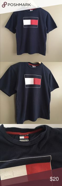 3d10dedd Vintage Tommy Hilfiger T-Shirt Vintage TommyHilfiger flag logo navy blue  tshirt. Some cracking