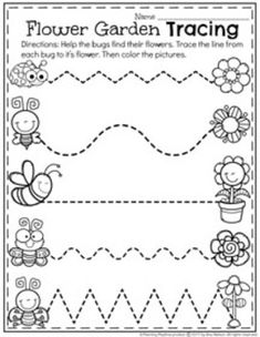 Preschool Tracing Worksheet for Spring. Preschool Writing, Free Preschool, Preschool Curriculum, Preschool Lessons, Preschool Learning, Kindergarten Worksheets, Learning Activities, Preschool Activities, Preschool Tracing Worksheets