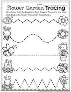 Preschool Tracing Worksheet for Spring. Fun Activities For Toddlers, Preschool Learning Activities, Free Preschool, Preschool Lessons, Spring Activities, Preschool Activities, Spanish Activities, Vocabulary Activities, Teaching Spanish
