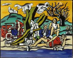 Fernand Léger (Fr. 1881-1955), La Partie de campagne (Deuxième état), 1953, huile sur toile, 130,5 x 162cm, Saint-Etienne, musée d'Art Moderne  Joseph Fernand Henri Léger (French: [leʒe]; February 4, 1881 – August 17, 1955) was a French painter, sculptor, and filmmaker. In his early works he created a personal form of cubism which he gradually modified into a more figurative, populist style.