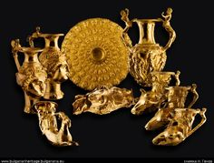 Golden wine service possibly owned by the Thracian King Seuthes III. Dating from c. 300 BC and excavated in Bulgaria.