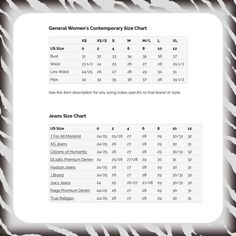 Silver Jeans Size Conversion Chart | Clothing | Pinterest | Dark