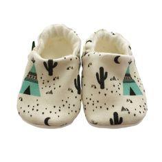 ORGANIC Geometric TEPEES & CACTUS Slippers Pram Shoes BABY GIFT IDEA 0-18M £17.00