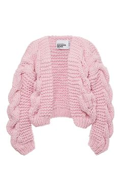Pink Wool Bomber Chunky Cardigan by I Love Mr. Mittens Now Available on Moda Operandi