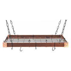The Gourmet Metal Rectangle Pot Rack with Grid