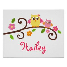 Sweet Mod Owl Girls Nursery Wall Art Print