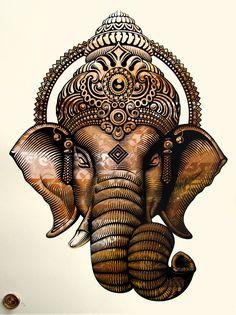 Artist: Cryptik Title: Ganesha Medium: 4 Colour Screen Print Size: 18 x 24 Inches . Arte Ganesha, Ganesha Tattoo, Shri Ganesh, Krishna, Lord Ganesha Paintings, Ganesh Wallpaper, Flower Background Wallpaper, Shiva Art, Buddha Painting