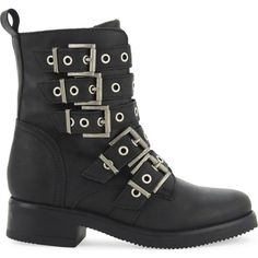 Aldo Waw leather biker boots ($66) ❤ liked on Polyvore featuring shoes, boots, buckle boots, punk rock boots, aldo shoes, leather shoes and leather motorcycle boots