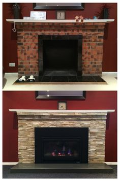 Fireplace makeover. Panel stone bengal blend, granite harth, Heat N Glo i30 gas log fireplace, godfrey hirst carpet.
