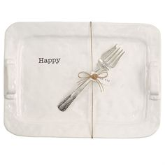 """2-piece set. Generous ceramic platter with handles features debossed """"Happy"""" sentiment and comes with """"TURKEY TIME"""" stamped silverplate serving fork."""