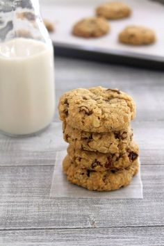 Eggless oatmeal raisin cookies recipe - moist, soft and chewy center with slight crisp on edges, sweet buttery, loaded with plump raisins.