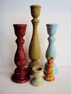 Shabby Distressed Wooden Candlesticks Set - Rustic Wood Candle Holders - Spring Cottage Chic Decor - Green Blue Red Orange Candle Sticks Set...