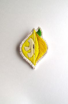 Lemon yellow brooch embroidered slice of lemon hand embroidered textile jewelry MADE TO ORDER