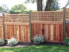 Solid Wood Fence with Square Lattice