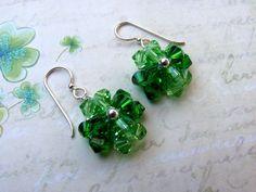 Crystal Clover Earrings, Swarovski Crystals, Shamrock Earrings, Clover Earrings, St. Patrick's Day Earrings, Green Earrings, Holiday Earring...