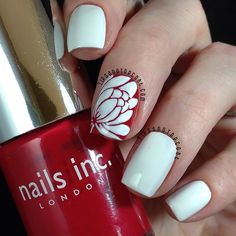 Red and White Lotus Flower Nail Art