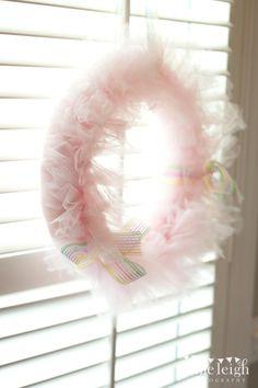 DIY party wreath made out of tulle! So cute! Via Kara's Party IDeas karaspartyideas.com #wreath #diy #tulle #party #ballerina #princess #girl #ideas