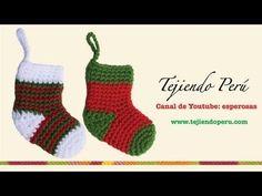 Medias o botitas navideñas en crochet