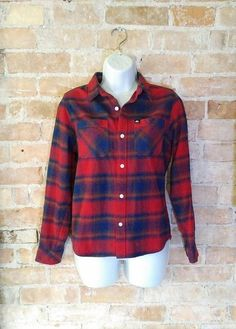 Red and Blue Shadow Plaid Flannel Edgy Grunge 90's Plaid by NoVeto