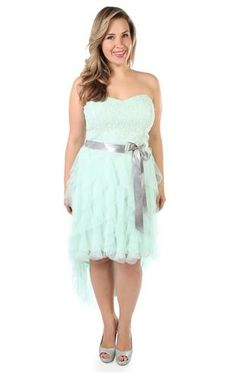 plus size lace strapless high low short party dress with satin tie