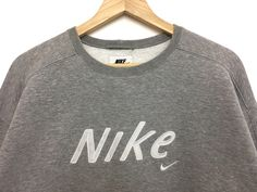 3c8b6da76405fa Rare!! Vintage 90s NIKE Sweatshirt Cropped Top Spellout Pullover Grey Color  Large Size