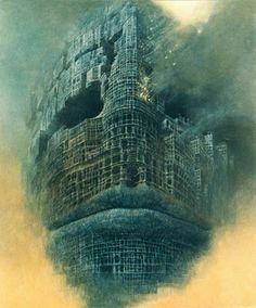 Door Zdzislaw Beksinski Gaaf bedacht het is net een stad die afbrand Maar je ziet ook weer heel duidelijk dat het een gezicht is
