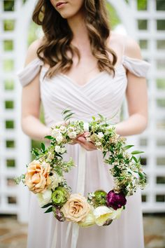 These are the best hoop wedding bouquets. We're loving this unique wedding bouquet trend. Floral Wedding, Wedding Flowers, Wedding Wreaths, Red Wedding, Wedding Hair, Wedding Dresses, Flower Girl Bouquet, Hand Bouquet, Flower Bouquets