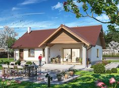 Projekt domu Tracja 3 117,19 m2 - koszt budowy 255 tys. zł - EXTRADOM Home Fashion, Ikea, Cabin, Mansions, House Styles, Outdoor Decor, Green, Home Decor, Manufactured Housing