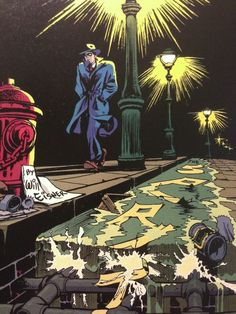 The Spirit by Will Eisner 1947. I like the way Eisner incorporated the Spirit Logo into the gutter run off. Eisner was one of the first creators that understood that comic books could be more than just throw away products.