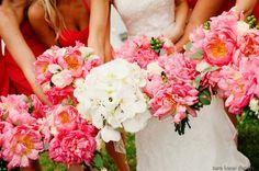 Coral peonies   bridesmaids