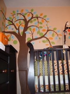 Boy's Woodland Creature Nursery. This was my son's room when he was a baby. Homemade mobile, bedding, bumper, curtains, artwork and mural.