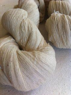 hand-spun mulberry silk noil yarn - undyed creamy white