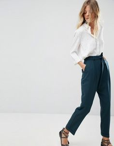 c958c0ca Asos Woven Peg Pants with Obi Tie High Waisted Tie Pants, Tapered Trousers,  Trouser